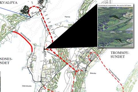 Her er skissen til en tunnelforbindelse fra nordsiden av Kvaløy-brua til Hamna og videre på tvers av Tromsøya til Breivika.