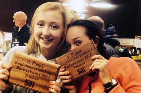 Vinner og andreplass i regionalt mesterskap i baristakunst. Fra venstre: Marte Sofie Joensen og Katinka V Hofsøy.