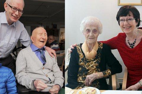 Harald og Olaug i Tromsø fylte begge 100 år i dag! Harald er omkranset av sønnen Bjørn Håkon og Olaug sitter sammen med datteren Unni Fjelde. Hun fyller før øvrig 65 år i dag.