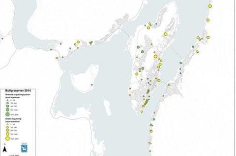 HER SKAL DET BYGGES: Grønne dotter viser areal som er ferdig regulert til boligbygging i Tromsø kommune. Gule dotter viser areal som er under regulering. De minste prikkene beskriver mellom 2 og 105 boliger - de største mellom 1.500 og 3.000.