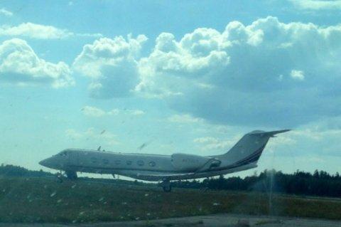 Her lander det som trolig er Bob Dylans private fly på Sandefjord Lufthavn Torp