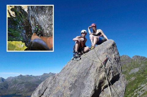 PÅ TUR MED HJUL: Joachim Skjævestad valgte å klatre Svolværgeita med rulleskøyter. De skulle ikke bli så lett. Turkamerat Mailn Jacobs beholdt skoene på. Foto: Privat.