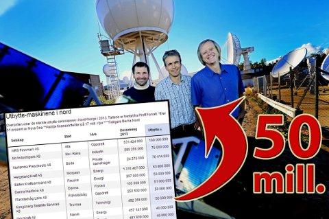 50 MILL: Kongsberg Satellite Services går så det griner. Det ga 50 millioner kroner i utbytte til eierne på 2013-regnskapet. Her er prosjektleder Espen Sagen, økonomisjef Alf Eirik Røkenes og direktør Rolf Skattebo ved KSAT avbildet ved en tidligere anledning.