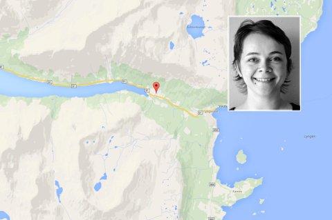 SKREMMENDE: Hilde Sandvoll så et av jordskredene da de kom. - Det var bare å rygge unna. Skjermdump Google Maps/UiT