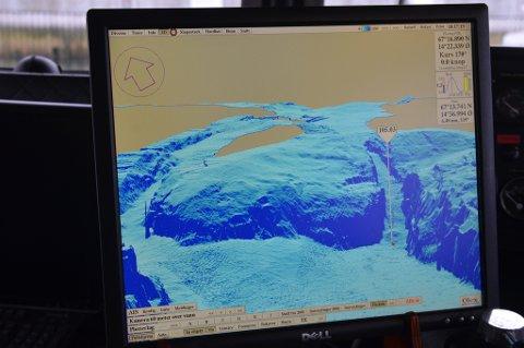 NGU og Fylkesmannen i Nordland jobber nå med et prosjekt som skal kartlegge hele havbunnen i Saltstraumen.  På bildet vises  havbunnen rett under Saltstraumbrua i et tredimensjonalt kart.