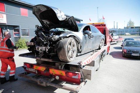 Slik så bilen ut etter at Petter Northug fyllekjørte.