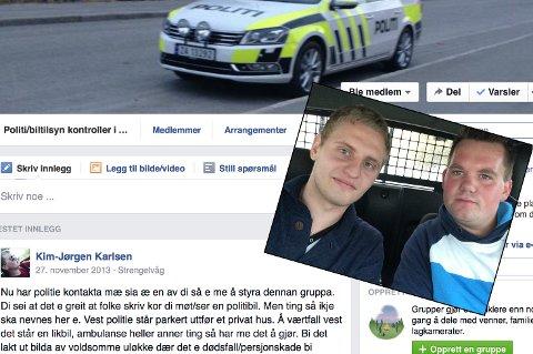 KASTET UT: Keven Flage (t.v.) og Kim Jørgen Karlsen kastet ut en bruker som gikk vel langt i varsling av blålysetater og likbiler.