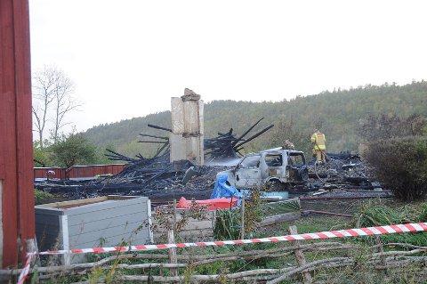 En parkert bil ble også tatt av flammene, mens ei stor vedbu (i venstre billedkant) ble reddet.