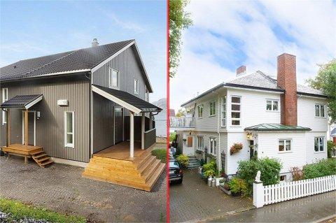 Familievillaen til venstre ligger i Storvika mellom Bratten og Skivika i Bodø, og koster 12 millioner kroner. Villaen til høyre har en takst på 7,1 millioner, og ligger i Fredensborgveien i Bodø.