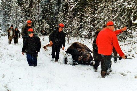 Med elgjakt til jul i Aurskog-Høland, er det muligheter at jegerne kan oppleve vinterlige forhold under jakta som på dette bildet tatt  i oktober midt på 1990-tallet.