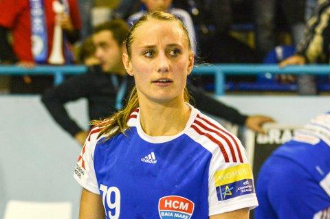 Camilla Herrem etter kampen i Romania fredag kveld