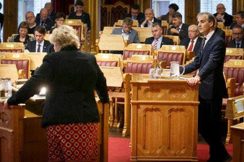 Jonas Gahr Støre og Ap gruser Erna Solberg og Høyre på dagens meningsmåling.