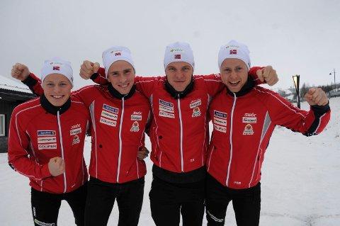 FIRERBANDEN: Mikael Gunnulfsen (fra venstre), Karstein Johaug, Gjermund Nilsen og Petter Øverland er klare til å bite fra seg på Beitostølen i helga.