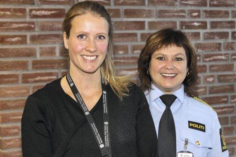 FORNØYDE: Forebyggendekoordinator Hilde Kallset Jensen (t.v.) og visepolitimester Kristin Elnæs. FOTO: JON TH. HAUGER-DALSGARD
