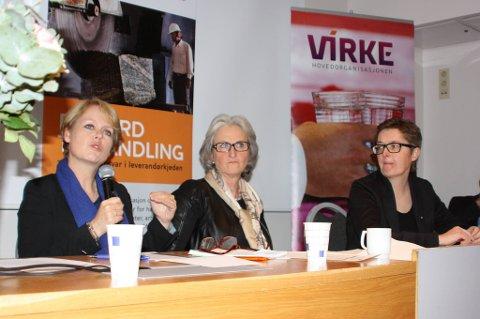Fra venstre stortingsrepresentant Marianne Aasen (Ap), administrerende direktør i Virke, Vibeke Hammer Madsen, og LO-sekretær Renée Rasmussen snakker om norsk næringslivs ansvar for å forhindre og bekjempe barnearbeid.