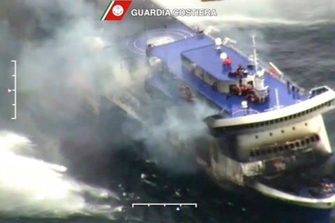 Brannen om bord i ferja Norman Atlantic nord for Korfu var i morgentimene mandag under kontroll.
