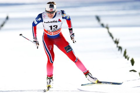 REISER HJEM: Maiken Caspersen Falla reiser hjem fra Tour de Ski i morgen etter femteplassen på sprinten i Sveits. FOTO: NTB SCANPIX