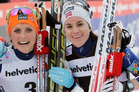 DUKET FOR DUELL: Therese Johaug (t.v.) har 39 sekunder å ta inn på Heidi Weng på søndagens avslutningsetappe av Tour de Ski. FOTO: REUTERS