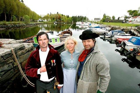 Gard Frostad Knudstad, Camilla Svingen og Arild Vestre spiller  konsul Fasmer, papirfabrikkarbeideren Lovinda og kruttbas Helmersen (15.05.2008).