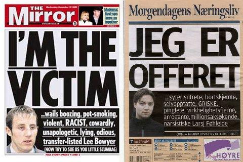 Faksimile av forsiden til den engelske tabloidavisen The Mirror og studentavisen ved NHH, K7 Bulletin.
