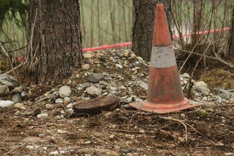 Denne minen ble funnet på en barnehagetomt i formiddag (22.04.2009).