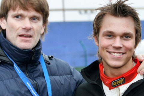 STARTER: Marcus Grønholm og Andreas Mikkelsen, stiller begge til start under Svullrya Rally Dahbi neste helg. Her er de to fotografert sammen i 2008.