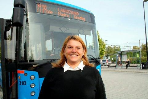 Antall passasjerer på metrobussene går nedover, sier Merethe Andersen i Telemark Kollektivtrafikk.