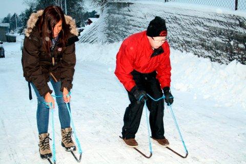 Merete Løvig og Per Henrik Rydning i fin stil på bakkejern, i trening til Vinter-OL i Brevik 2012