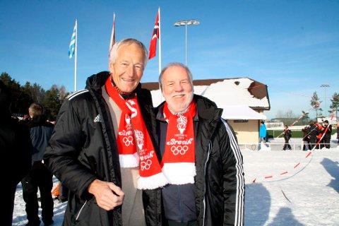 De tidligere skøytestjernene Fred Anton Maier og Sten Stensen storkoste seg under Vinter-OL i Brevik.