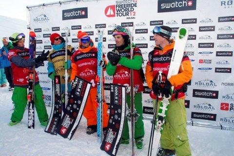 De fem beste frikjørerne i alpinklassen. Fv. Drew Tabke (USA), Sam Smoothy (NZL),  Dennis Risvoll (NOR), Aurélien Ducroz (FRA), Cato Lægreid (NOR).