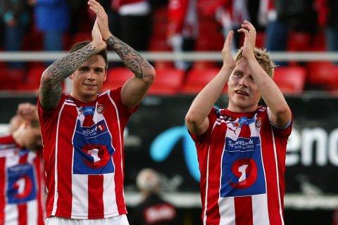 Tromsøs Steffen Nystrøm og Ruben Yttergård Jensen kunne juble etter tre poeng mot Vålerenga.