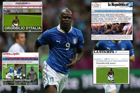 Mario Balotelli og resten av de italienske spillerne har sørget for entusiastiske oppslag i italienske medier.