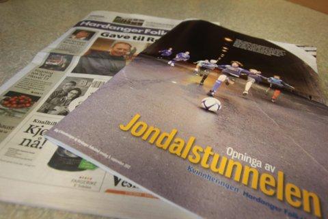 I DAG. 60 siders magasin om Jondalstunnelen som vedlegg i Hardanger Folkeblad.