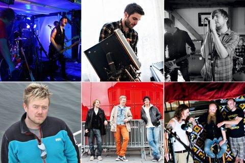 Desse seks artistane kjempar om finaleplass i Bandwagon. Øvst frå venstre: Still Shaking, Eivind Vilnes og Ferdarhag. Nedst frå venstre: The Great Escape ved Hans Erik Waage, Samora og Drusar.