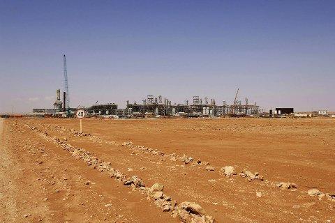 Gassanlegget i Amenas i Algerie, der Statoil er en av operatørene.  Flere utlendinger er bortført i et angrep på anlegget onsdag.
