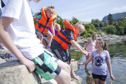 Andrea (2,5) og Sander (8) Holmelid bruker sommerdagen til å samle krabber med Nina Karin Våge.