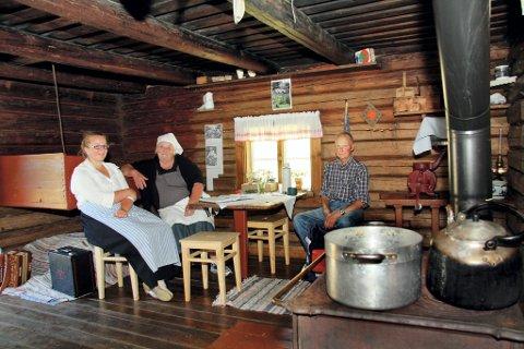 KJØLIG: Budeia Thea Skjønhaug, vaffelsjef Kitty Weckhorst og gjesten Roar Haugen slappet av i fin behagelig temperatur inne i tømmerhuset.