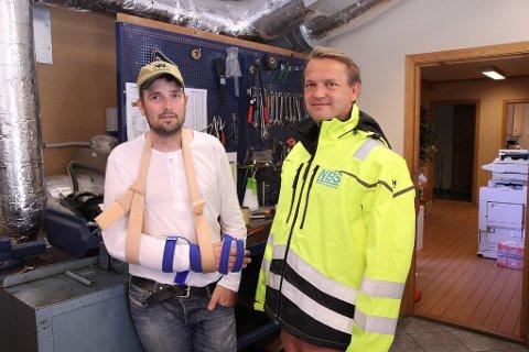 Lukkelege: Ove Nordbø og fungerande dagleg leiar Roy Sævik i Norsk Bergsikring AS er glade for oppdraget for Statnett.