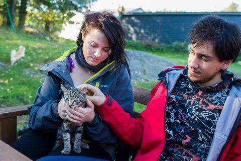 Wanja Isaksen og Arben Prebreza sammen med katten Pus.