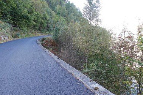 Den nylagte asfalten ved Seimestranda ligger noen steder over støpekanten som skal sikre biler mot utforkjøring.