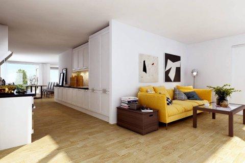 KJØKKEN OG STUE: Den største toppleiligheten har et bruksareal på 137 kvadratmeter. Denne illustrasjonen viser litt av kjøkkenet og stua i en av toppleilighetene. De 40 leilighetene får vannbåren varme i alle gulv. Illustrasjon: Inviso AS
