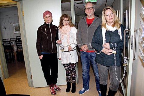 AKSJONERER: Fra v. Randi Skau, Linn-Karin Lundhaug, Hasse Rønningen og Wanne Melcher. Skau støtter sin ektemann Hasse Rønningen i kampen. foto: lars ivar hordnes