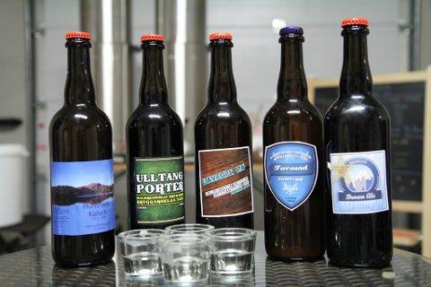 Eit lite utval av ølsortane dei har brygga i år. Alle sortane er kalla opp etter lokale stader.