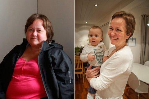 FØR OG ETTER: På to år halverte ufrivillig barnløse Beate Lill Ekrem (42) fra Hammerfest kroppsvekten etter en slankeoperasjon. Hun ble gravid og mamma til lille Aila.