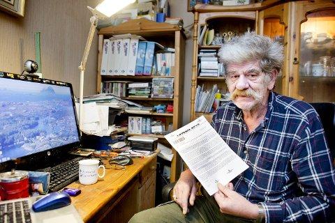 Asbjørn Falleth Bryhn (67) mottok dette brevet i posten der det står at han har vunnet 1,5 millioner euro. Han har ingen tro på at han har vunnet, og vil advare andre mot å gå i fellen og utgi kontoopplysninger.