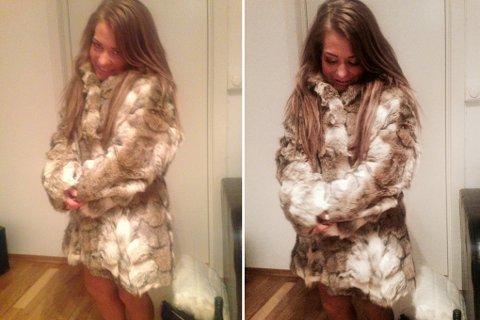 Sandra Borch poserte i går i sin nye ulvepels.