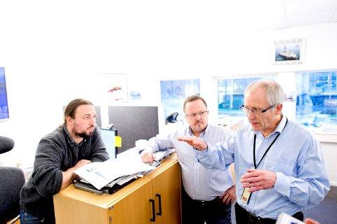 Fra venstre: Thomas Borsholm, Rolf P. Lorgen og Kjell Hanssen i divisjonen Mobile Offshore Drilling Units sitter på kompetansen Odfjell Drilling er basert på.