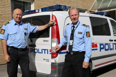 BEKYMRET: Lensmann i Sør- og Nord-Odal, Ole B. Nordvik (til venstre) og politioverbetjent Per Olaf Nordli ved Kongsvinger politistasjon slår alarm om antall psykiatri-oppdrag politiet må engasjere seg i.