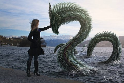 Slik ser Midgardsormen i Hardanger ut, i følgje Sunniva Møgster sine fantasiar. Biletet er laga i samband med ei skuleoppgåve.