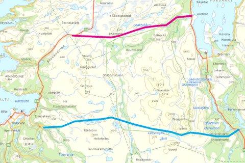 ALTA - LAKSELV: Altapolitiker Claus Jørstad (Frp) vil bygge vei mellom Alta og Lakselv. Her er to alternative traseer illustrert.